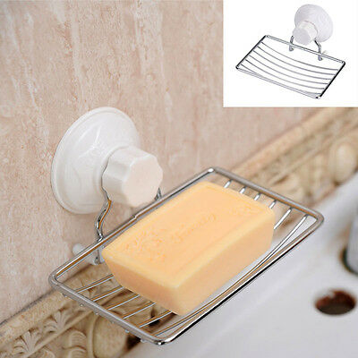Stainless Steel Strong Suction Wall Soap Holder Dish Tray Bathroom Shower Cup