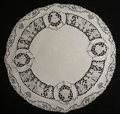 Antique Figural Italian Placemats Round And Oval Set Of 12