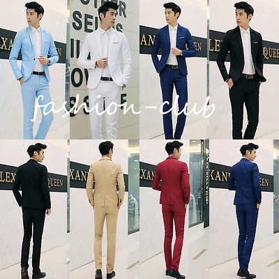 Men Formal Groomsman Prom Party Suit Tuxedo Button Slim Fit Blazer Coat+Trouser