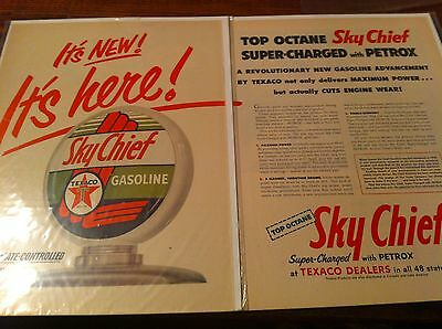 Vintage 1954 Texaco Sky Chief Gasoline It's Here Two Page Print ad