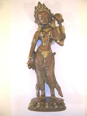 "Standing Tara Statue - 12."" Brass / Copper"