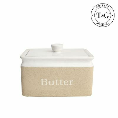 T&G Woodware Stone Design Stoneware Butter Dish with Lid
