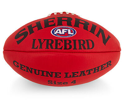 Sherrin Lyrebird Size 4 Leather Football - Red