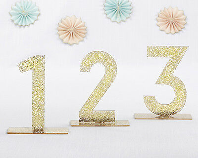 Set of 6 Gold Glitter Acrylic Table Numbers - Wedding/Anniversary Decorations