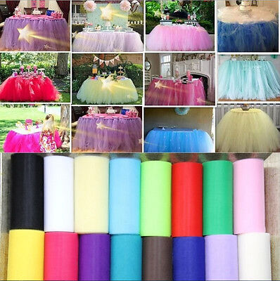 "6"" 25Y Tutu Tulle Roll Spool Bow Sewing Fabric Bridal Skirt Wedding Favours Deco"