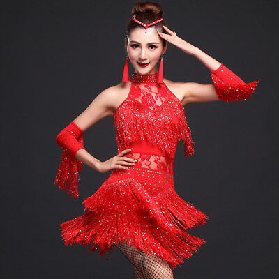 Women Lace Salsa Dance Dress Cha Cha Tango Ballroom Costume Fringe Rumba Tassels