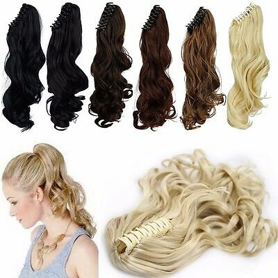 Lady Clip In Ponytail Pony Tail Hair Extensions Claw On Hair Piece curly 18 inch