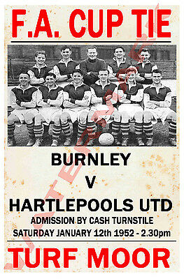 Burnley - Vintage Football Poster POSTCARDS - Choose from list