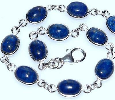 925 Sterling SILVER Lapis Bracelet Genuine Natural Gemstone Jewellery Blue Stone