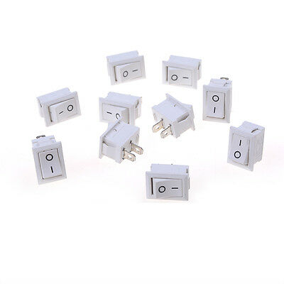 10pcs 2PIN ON/OFF Rocker Switch Car Dashboard Dash Boat SPST 6A/250V White