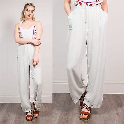Womens Vintage Disney Piglet Summer Trousers Baggy White Green Wide Leg Harem 20