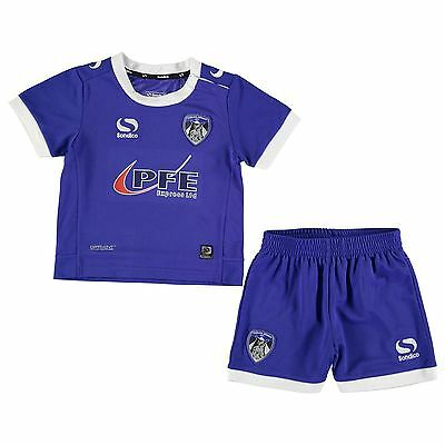 Sondico Kids Oldham Athletic Home Kit Baby Boys T Shirt Shorts Bottoms Top