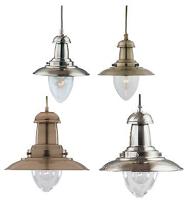 Fisherman Lantern Ceiling Light Antique Brass or Satin Silver Small & Large Lamp