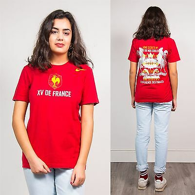 Nike Retro Womens Red Sports T-Shirt Top Rugby Xv De France Exercise Crew 8 10