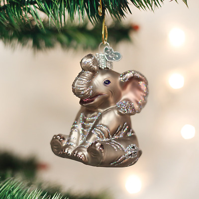 12157 Little Baby Elephant Glass Ornament Old World Christmas Circus Zoo Animal