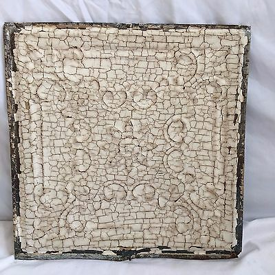 1890 12 x 12 Antique Tin Ceiling Tile Ivory Metal Reclaimed Anniversary  345-17