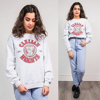 90's Vintage Womens Sweatshirt Jumper Clelian Heights Usa College Style Grey 12