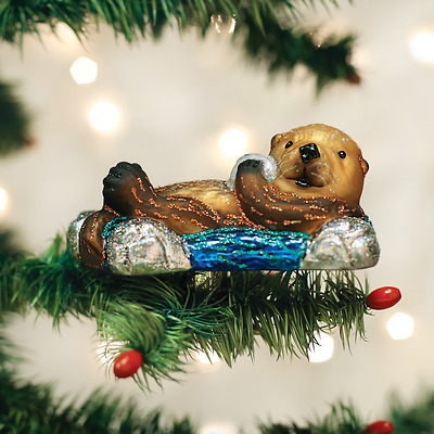 12506 Floating Sea Otter Clip-On Glass Ornament Old World Christmas Pup Aquarium