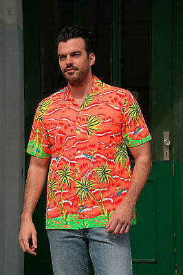 Herren Hemd Surfen Hawaii Hemd shirt 90er True VINTAGE surfing palmtrees neon