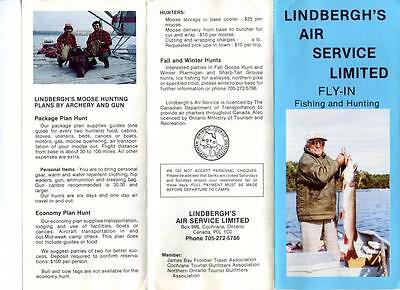 Travel Brochure + 1894 Rates Lindberghs Air Service Fly In Fish Hunt Canada
