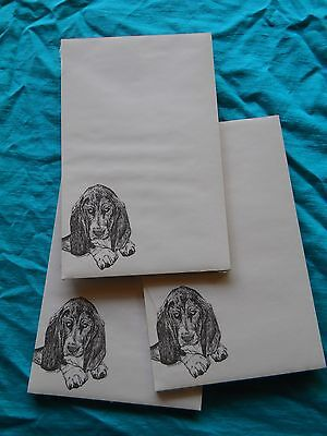 Basset Hound Notepad 50 Sheets 8.5 x 5.5 New Black & White Drawing-3 pads