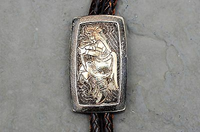 Western 14K Gold Dancing Indian & Sterling Bolo  - Markings Stamped Hands