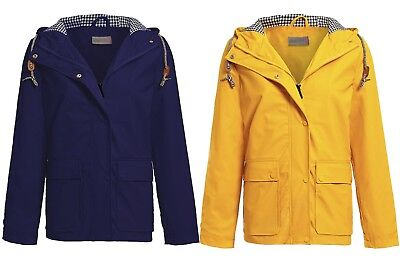New Womens Hooded Toggle Kagool Plain Outdoor Waterproof Rain Coat Jacket