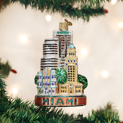 20090 Miami City Scape Glass Ornament Old World Christmas Freedom Tower Marlin
