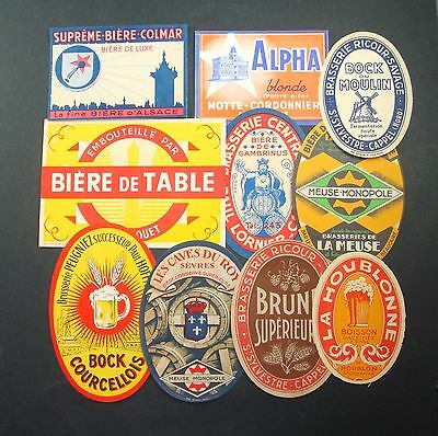 Lot 10 Etiquettes Biere Boisson Alcool Anciennes Old Beer Labels Roy Alpha