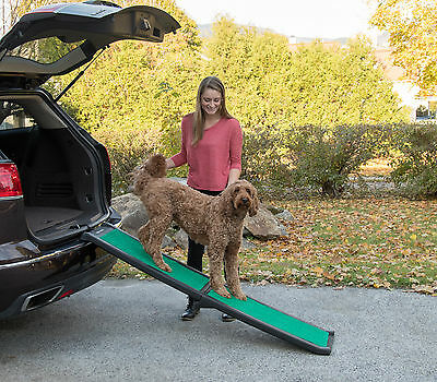 "NEW! Pet Gear Travel Lite Bi-Fold Dog/Cat Ramp with supertraX carpet 66"" Long"