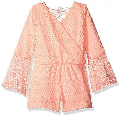 Kensie Little Girls Apricot Bell Sleeve Lace Romper Size 2T 3T 4T 4 5/6 6X