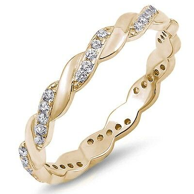 Yellow Gold Plated Twisted CZ Eternity Band .925 Sterling Silver Ring Sizes 4-10