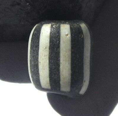 RARE SMALL AMAZING OLD BLACK WHITE STRIPED ANTIQUE BEAD 8mm x 10mm