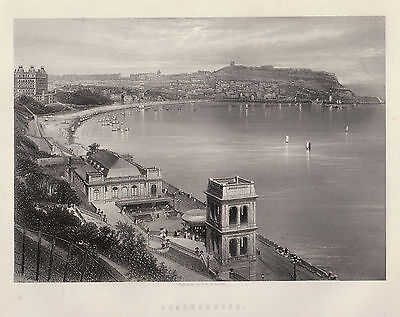 Scarborough panoramic view, 1870s quality ready mounted antique engraving SUPERB