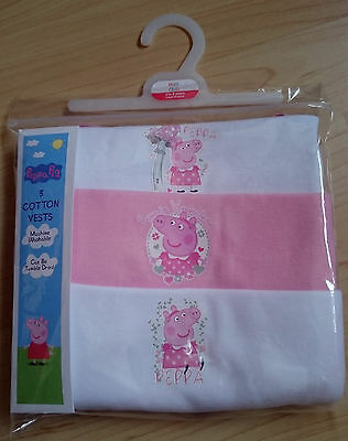 Boots Pack of 3 Baby Girls Cotton Vests Peppa Pig Pink & White 18-24 Months BNIP