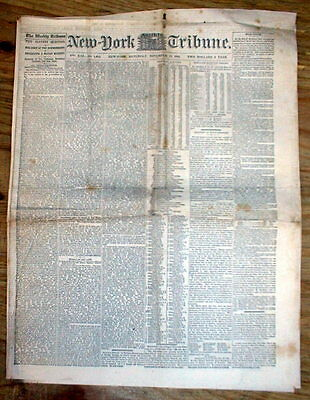 1861 Civil War newspaper w very early speech on THE EMANCIPATION of NEGRO SLAVES
