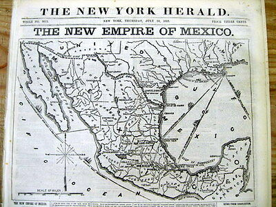 1863 newspaper w huge detailed MAP of MEXICO - 2nd Mexico Empire ruled by FRANCE