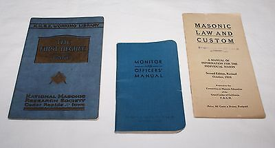 3 1920s Masonic Booklets First Degree Monitor Officers Manual Law and Custom
