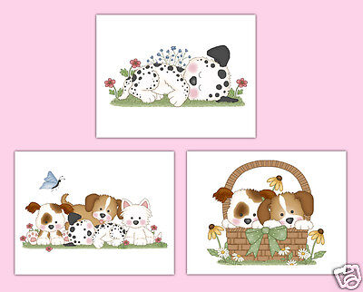 Puppy Nursery Prints Wall Art Decor Baby Girl Dog Shower Decorations
