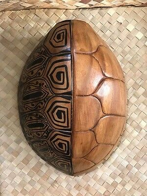 NEW Tattooed Wooden Turtle Shell Smokin Tikis Hawaii Tiki Bar Decore fx