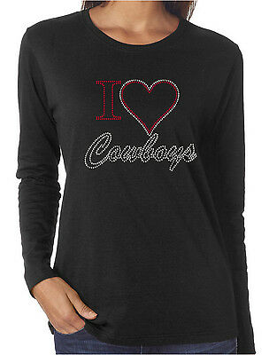 I Heart Cowboys Love Rhinestone Women/'s Long Sleeve Shirts Cowgirl Western
