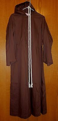 RJ Toomey Clergy Alter Server Monastic Alb Hooded Brown Monk Robe Age 14 52""