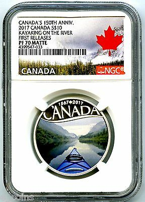 2017 $10 Canada 150Th Silver Proof Ngc Pf70 Fr Kayaking On The River Pop Only 33