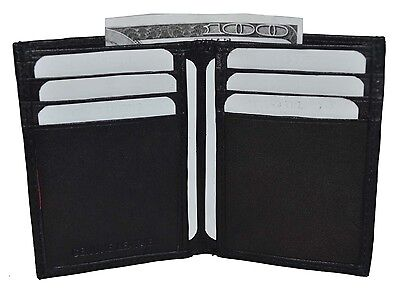 New Men's Genuine Leather Black Thin Slim ID Credit Card Money Holder Wallet.
