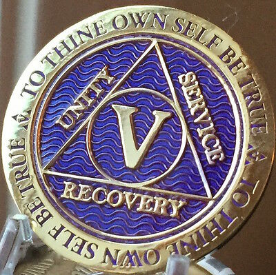 5 Year AA Medallion Purple Gold Plated Alcoholics Anonymous Sobriety Chip Coin