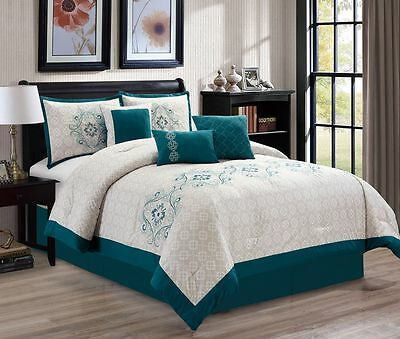 11 Piece Passion Teal/Beige Bed in a Bag w/500TC Cotton Sheet Set