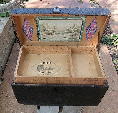 Old Child Size Trunk  Pat. Nov 30, 1869  R.H. John - Americana Galveston, Texas