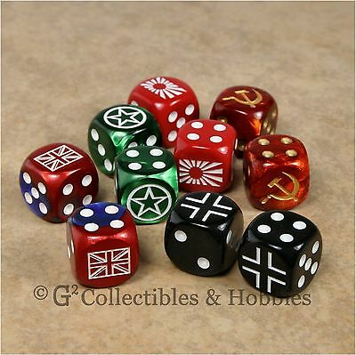 NEW Set of 10 WWII Dice World War 2 Axis Allies WW2 16mm RPG Game D6s