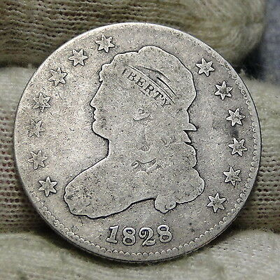 1828 Capped Bust Quarter 25 Cents -  Key Date, Nice Coin, Free Shipping. (5668)
