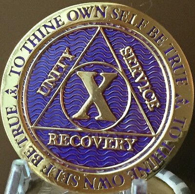 10 Year AA Medallion Purple Gold Plated Alcoholics Anonymous Sobriety Chip Coin